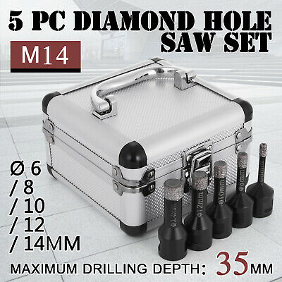 5PCS Diamond Holesaw Set Ø 6/8/10/12/14mm M14 Portable Vacuum Brazed marble