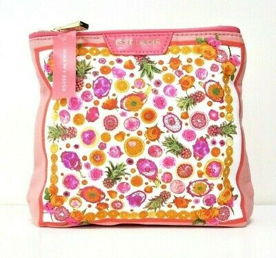 Estee Lauder Pink Flowered Makeup/Cosmetics/Travel Bag - New With Tag