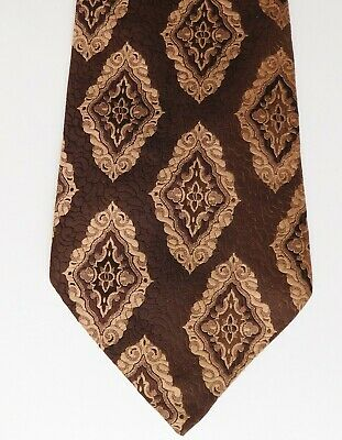 Hardy of England kipper tie vintage 1960s brown and beige brocade 4.5 inch wide