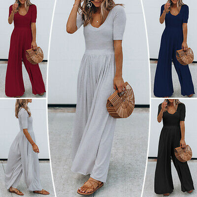 Women Summer Short Sleeve Loose Baggy Boho Jumpsuits Playsuits Trousers Wide Leg