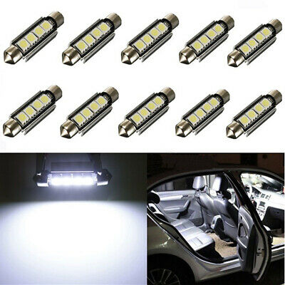 10pack Canbus Bianco 42mm 4 SMD Led 5050 Auto Siluro Interno Luci Lampadine A