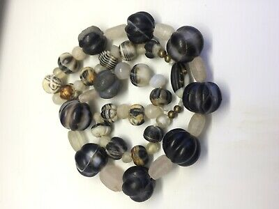 Ancient Unique Beautiful Agate banded Stone Beads Necklace Roman Ancient Beads