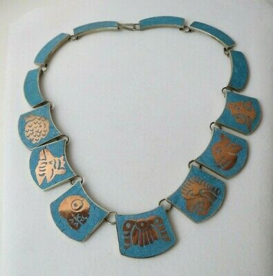 """Vintage Taxco Sterling Silver Turquoise & Copper Aztec Design Link Necklace 17"""""""
