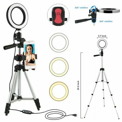 UK LED Ring Light with Stand Photography Dimmable Video Lamp Camera Phone Holder