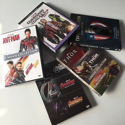Marvel lot DVD of THOR Avengers Captain America  Ant Man Guardians Galaxy  Box