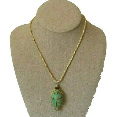 Vintage Carved Old Egyptian Faience Large Scarab Beetle Necklace w Glass Beads