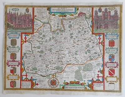 Surrey Described and Divided into Hundreds 1610 Map England Hondius / Speed