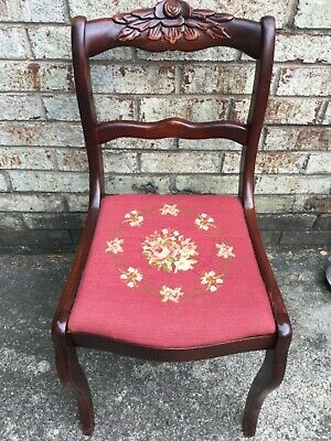 Antique Vintage Mahogany Rose Back Needlepoint Duncan Phyfe Side Chair