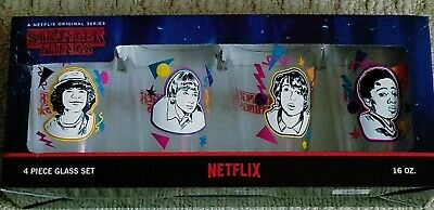 Stranger Things 4 Piece Glass Set 16oz Cups Loungefly Netflix  -  New in Box