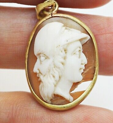 Gorgeous Antique Victorian Pink Shell Double King Faces Solid 18K Gold Pendant