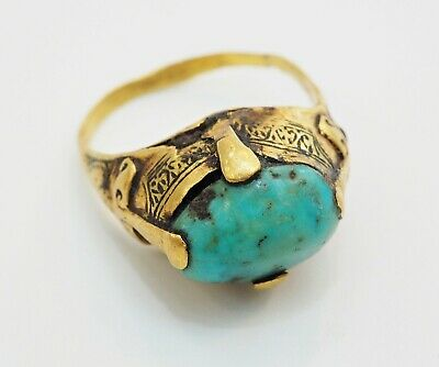 Ancient Genuine Solid Gold 22k Roman Gold with Persian turquoise Finger Ring