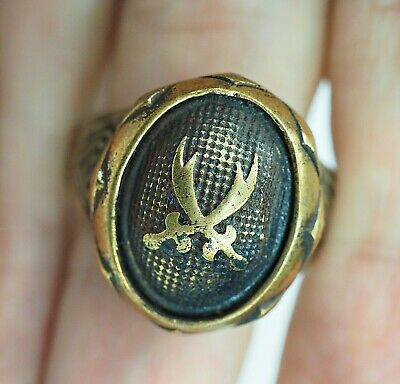 Antique Greek Gold Gilt Double Sword Cutlass Shield Sterling Silver Knight Ring
