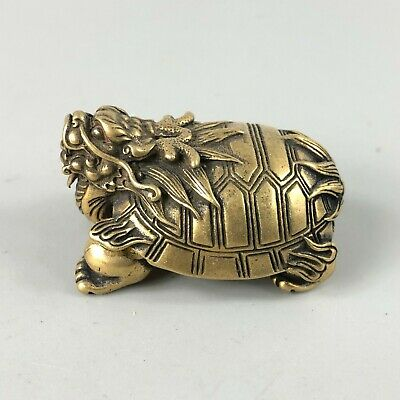 Rare Collectible Old Brass Pure Handwork Chinese Antique Dragon Turtle Statue