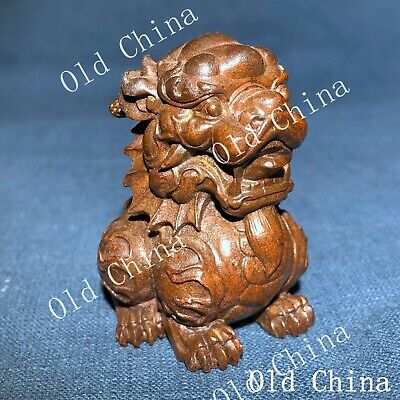 Antique Chinese Collectible Old Copper Auspicious Beast Kylin Handwork Statue
