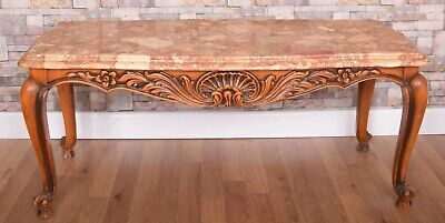 Quailty Carved Antique French Louis Style Marble Top Coffee Table