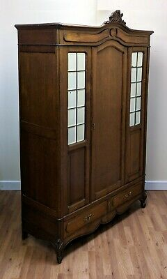 Antique French Louis Style Oak Armoire Wardrobe