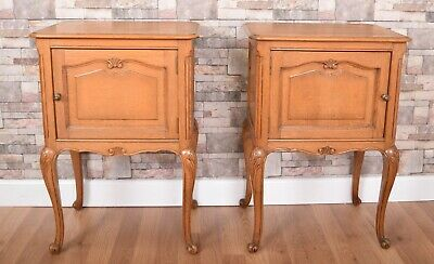 Carved Pair of French Louis Stlye Oak Bedside Cabinets