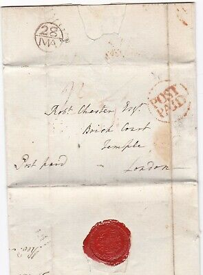 # 1782 Cardiff Red Post Paid & Bishopmark Letter Rev T Hancorne >Robert Chester