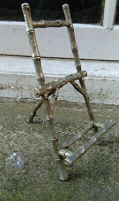 Vintage Silvered Small Metal Faux Bamboo Photo Fame Painting Display Stand