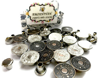12 NO-SEW Metal Brass Tack Jeans Snap Star Pants Buttons 16.5mm Dark Pewter G192