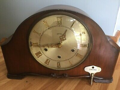 Vintage 60's Smiths Dual Chiming Clockwork Westminster Whittington Mantle Clock