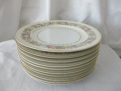 Spoto Made in Occupied Japan 1945-52 lot of 10 salad dessert plates pink flowers