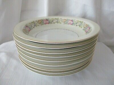 Spoto Made in Occupied Japan 1945-52 lot of 9 soup salad bowls pink flowers