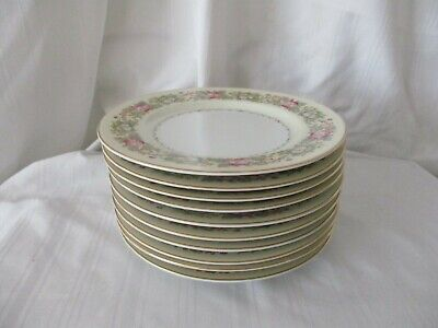 Spoto Made in Occupied Japan 1945-52 lot of 10 bread side plates pink flowers