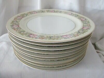 Spoto Made in Occupied Japan 1945-52 lot of 10 dinner plates pink flowers