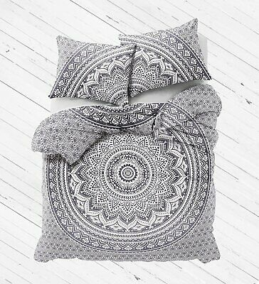 Indian Queen Size Duvet Covers Grey Ombre Mandala Bedding Set Quilt Cover Throw