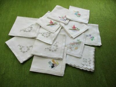 Vintage Tea Napkins - Embroidery Decoration - Col.12