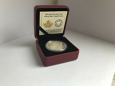 2015 $20 Grizzly Bear : Togetherness 1oz silver coin