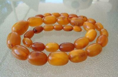 Vtg Natural Butterscotch Egg Yolk Baltic Amber Bead Necklace Graduated Olive 44g