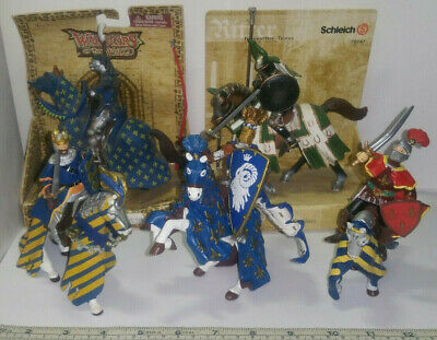 Schleich 70047 & Warriors of the World 21459 +3 Loose Knight on Horse Figures.