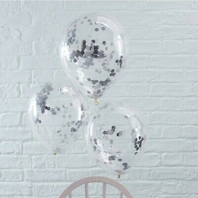 SILVER CONFETTI FILLED BALLOONS - PICK & MIX by GINGER RAY