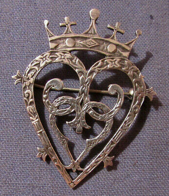 VINTAGE SCOTLAND Scottish STERLING SILVER BROOCH PIN CROWN & HEARTS Love Token
