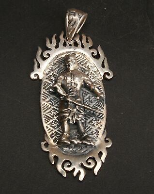 China 925 Silver Hand Carved Roman Warrior Pendant Jewelry Gift Collection