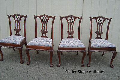59706 Set 4 Mahogany Chippendale Dining Chairs with Claw Feet.