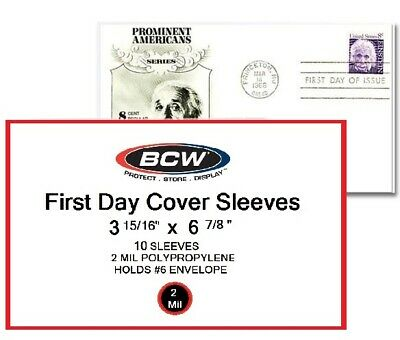 First Day Cover Sleeves. Package of 5 BCW #6 Envelope 3 15/16 X 6 7/8  FREE S+H