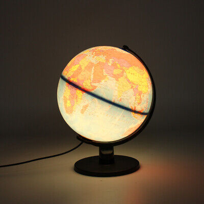25cm Illuminated World Globe Earth Rotating With Night Light Desk Map