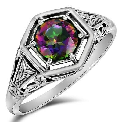 2CT Color Changing Rainbow Topaz 925 Solid Sterling Silver Art Deco Ring Sz 8