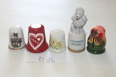 Lot of 5 Thimbles D26 Poodle Dog Porcelain Hand Painted Wood Valentines Day