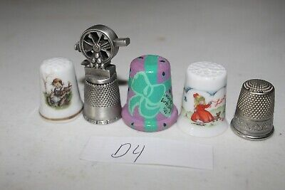 Lot of 5 Thimbles D4 Pewter Happy Birthday Wood Hand Painted Porcelain