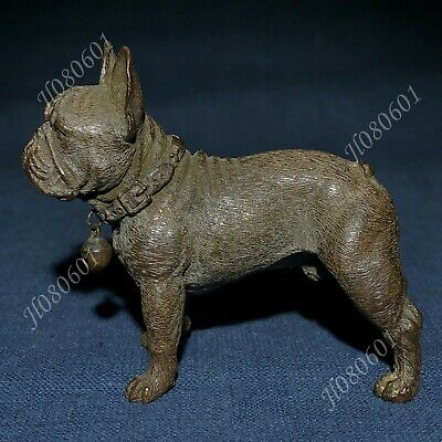 Chinese Antique Solid Copper Pure Handwork Fierce Bulldog Collectible Old Statue
