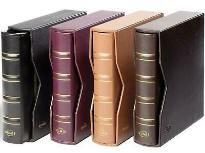 Classic Genuine Leather Luxury Numis Coin Album with Slipcase & Pages