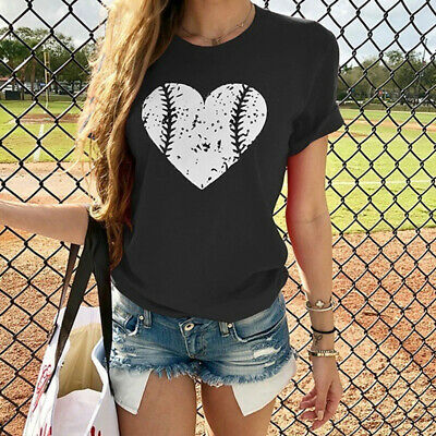 Womens Summer Heart Short Sleeve Casual T Shirt Tops Blouse Ladies Loose Tee LC