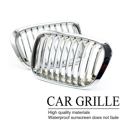 Front Chrome Silver Kidney Grill Grille Cover For BMW E46 3Series 4Door 98-01 AU