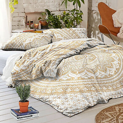 Indian Queen Ombre Mandala Doona Duvet Quilt Cover White Gold Bedding Set Throw