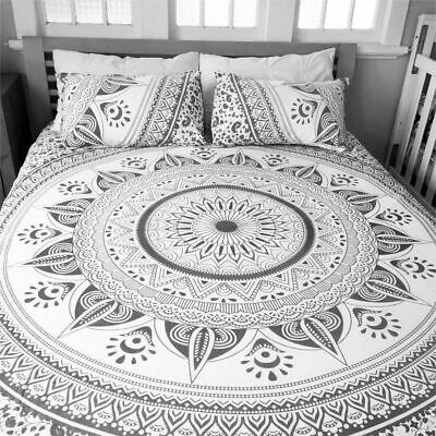 Indian Grey Ombre Mandala Queen Size Doona Duvet Quilt Cover Cotton Handmade