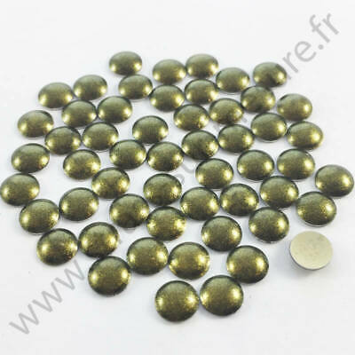 Strass clou thermocollant rond hotfix VERT FONCE NACRE, 2mm, 3mm, 4mm, 5mm, 6mm